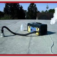 Recherche et détection de fuite d'eau sur toiture terrasse par injection fumigène, mise en eau…